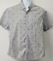 Denim & Flower Men's Casual Button Down Shirt Sz L Blue Slim Fit Palm Trees