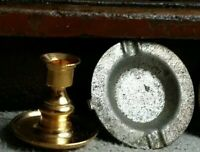 Vintage metal miniature CANDLESTICK AND ASHTRAY FOR DOLLHOUSE