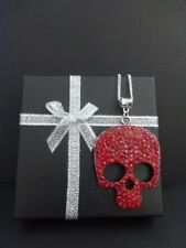 GOTHIC RED DIAMANTE SUGAR SKULL & STERLING SILVER CHAIN NECKLACE - GIFT BOXED