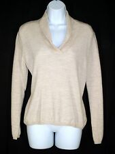 Jones Wear Tan Brown Wool Sweater sz L Vneck Shawl Collar