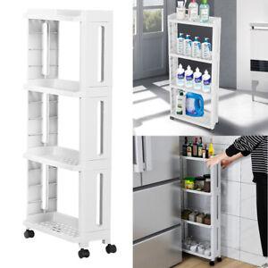 Narrow Slim Storage 4-Tier Sliding Out Trolley Shelf Rack Kitchen Tray Rack Cart