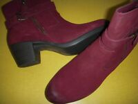 Earth Origins Tori Suede Water Repellent Mid-Heel Ankle Boots Women 12 M Merlot~