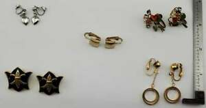 Vintage Lot of 5 pairs Clip Screw-back Earrings Fashion Jewelry (J9#2)(Lot 11)