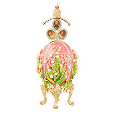 Faberge Egg Flowers & Russian Emperor's Crown with photo frames 6.3'' 16cm pink