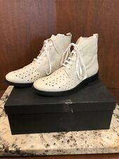 Ann Demeulemeester White Leather Lace Up Cutout Combat Boots Italy 39.5 US 8.5