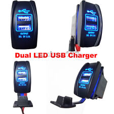 Car Auto Power Supply Dual LED USB Charger Port Socket Waterproof 3.1A 12-24V