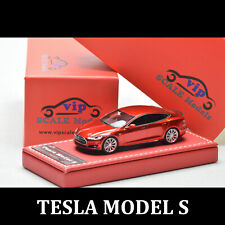 VIP SCALE 1:64 TESLA MODEL S Red Resin Diecast Car Model Limited Leather Base