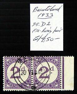 BASUTOLAND 1933 - 2d Postage Due Fine/Used Marginal Pair As Described DF424