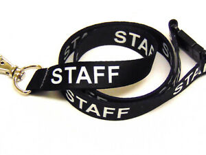 STAFF lanyard black 15mm with safety breakaway for ID & keys. Free UK postage.