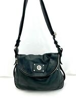 Marc by Marc Jacobs Black Leather Zipped Flap Convertible Crossbody Shoulder Bag