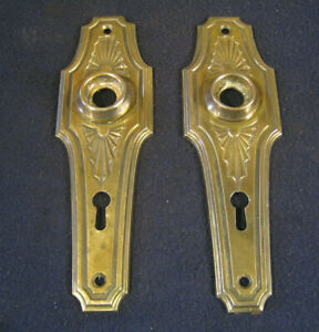NIce Pair Antique Spider Web Art Deco Mortise Door Lock Back Plates Escutcheons