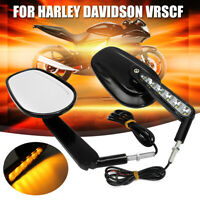 Rear View Mirrors LED Turn Signals Light Black For Harley Davidson VRSCF V Rod