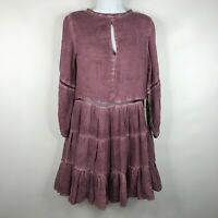 Sea Gypsies By Lost Forever Flounce Tier Dress Lavender Purple Garment Dyed Sz L
