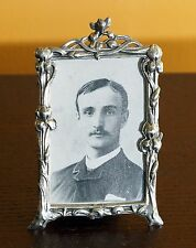 Art Nouveau Style Easel Back Vanity Dresser Mirror Silver Picture Frame