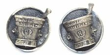 BIG 3-D Vtg RX Pharmacy EBERS PAPYRUS Silver PEWTER Cufflinks HEAVY! SIGNED HLP