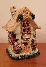 """Kimberly Designs 2001 Hand Painted """"Welcome"""" Fairy Cottage Candle Holder"""
