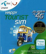 Sim Karte Thailand Prepaid DTAC 6 GB Daten LTE + Guthaben für Anrufe SMS 15 Tage
