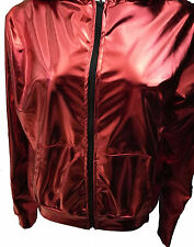 Thin Women Men Red Gold shiny patchwork Costume Top Loose Hip Hop dance jackets