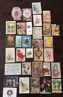 Lot of 32 Vintage 1960s CHRISTMAS Valentines etc Greeting Cards Ephemera ~Used