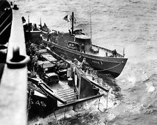 "LCT with Jeeps is assisted by a tug boat 8""x 10"" World War II WW2 Photo 524"