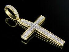 """Hombre 10K Oro Amarillo Diamante Genuino 2 filas encanto Cruz Colgante 1/4 CT 1.5"""""""