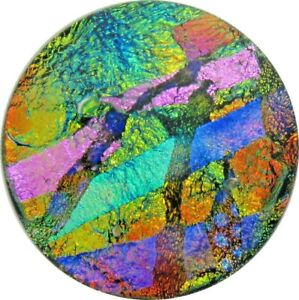 """""""Agnes 33mm x 34mm"""" beautiful hand made Fused Dichroic Glass Cabochon RELEI"""