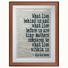 Ralph Waldo Emerson DIZIONARIO pagina Citazioni ARTE Stampa a Leggere Libri Letterari Regalo