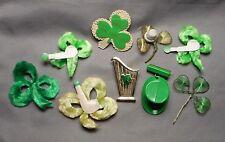 Lot of 9 Old St. Patrick's Day Novelty Brooches Irish Harp Green Shamrock Hat +