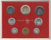1962 Vatican Giovanni XXIII Set Coins With Silver In Official Red Coin Card