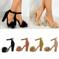 Womens Ankle Strap Party Stiletto High Heels Pump Sandal Fur Open Toe Shoes Size