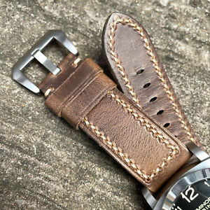 Quality Brown Leather Watch Strap For OFFICINE PANERAI PAM Watches 24mm 26mm Lug