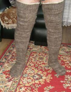 LEG WARMERS SUPER long stockings hunting fishing natural  wool Russian craft