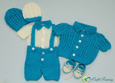 Hand Knitted Baby Boy's Newborn Set Romper Cardigan 2 Hats and Booties