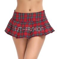 Ladies Sweet Mini Skirt Plaid Skirts Girl High Waist Ruffle Pleated Short Dress