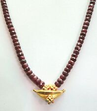 Vintage antique 18k-20k Gold jewelry Natural Ruby beads Necklace Pendant