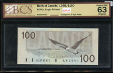 1988 Bank of Canada $100 Changeover S/N: BJR1471741 - 3 Digit Radar