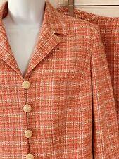 Le Suit Women's Suit 2 Pc Size 8 Skirt Ruffle Hem 5 Button Blazer Salmon Tweed