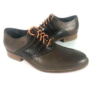Cole Haan Mens 7.5 Colton Saddle Shoes dress brown croco leather orange air