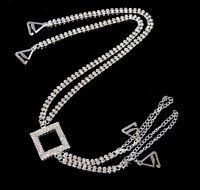 Pair TreasureBay Diamante Bra Straps Double Rows Black Stone