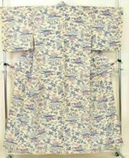 Vintage Japanese Ladies' Ivory Crepe 'Pink/Blue Flowers' Komon/Kimono/Robe 10-14