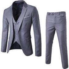 3 Pcs Suit Men Bridegroom Wedding One Button Slim Fit Coat Business Formal Dress