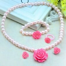 Set For Girls Artificial Pearl Flower Shape Necklaces Bracelet Ear Ring Clips