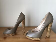 CASADEI taupe leather Bamboo wrap heels platform peeptoe pumps shoes sz 10/40