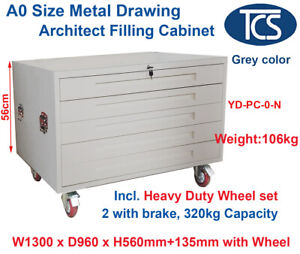 TCS NEW GREY A0 PLAN 5 DRAWER ARCHITECT CABINET w/ WHEELS Paper Posters Art Map