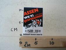 STICKER,DECAL ASSEN IJSSPEEDWAY HALVE FINALE WK 1992 HOLLAND A