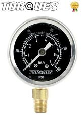 Torques Analog Fuel Pressure Gauge Black Face 0-7 BAR / 0-100 PSI Fluid Filled