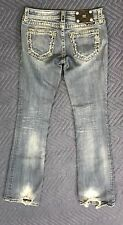 Miss Me Jeans style JW516182L with Scroll Stitching & Bling Size 27 Inseam 33