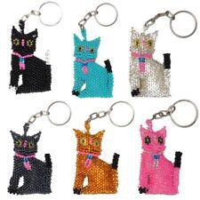 Kitty Cat Pet Key Chain Ring Holder Glass Artisan Beads Lot Wholesale Six Pack