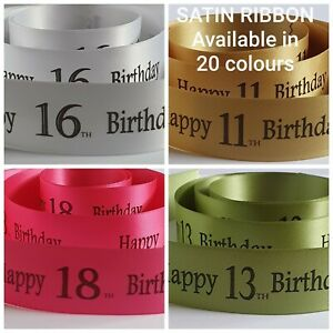 Birthday Ribbon Age 11 to 20 available in 17 colours 25mm x 1 metre cake or gift