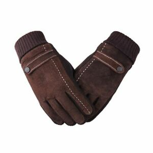 Winter Men's Gloves Leather Casual Mittens Outdoor Full Finger Touch Screen Wear